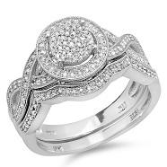 14K White Gold 1 1/2 ct. Diamond Bridal Engagement Set