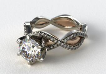 Platinum and Rose Gold Braided Engagement Ring