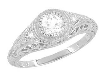 Art Deco Heirloom Engraved Filigree Diamond Engagement Ring in Platinum