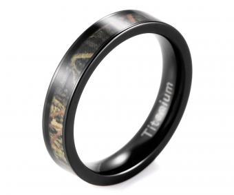 Women's Black Titanium Greenery Camo Engagement Ring