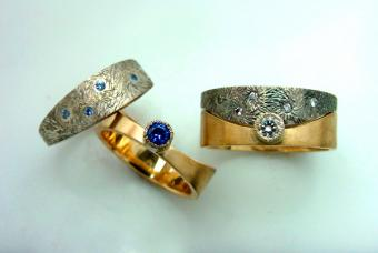 "Unusual wedding rings ""Starry Night"" by Creative Metalsmiths"