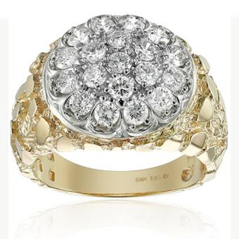 Men's 10k Two-Tone Gold with Nugget Side Accent Diamond Cluster Ring