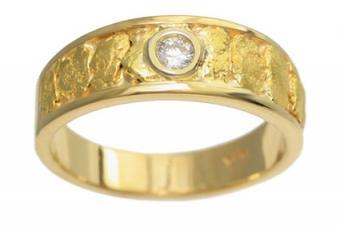 Gold Nugget Diamond Rings