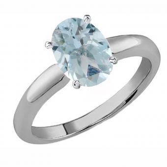 Oval Cut Aquamarine Ladies Solitaire Bridal Engagement Ring