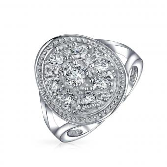 Bling Jewelry Cluster CZ Engagement Ring Sterling Silver