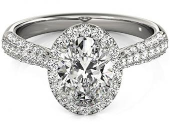 Oval-Cut Halo pave' Diamond Engagement Ring 14k White Gold