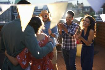 Casual rooftop engagement party