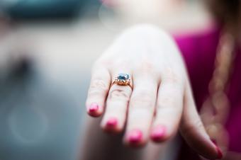 vintage engagement ring on finger