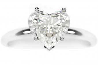 Diamond, heart-shaped engagement ring