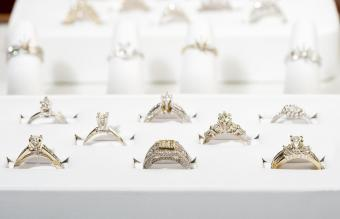 Engagement rings in display case