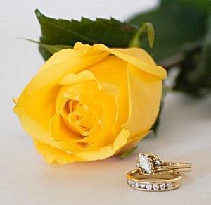 Wedding ring set next to a yellow rose