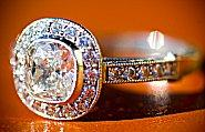 pave ring wity cushion cut stone