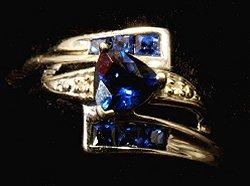 Trilliant shaped blue bridal ring set