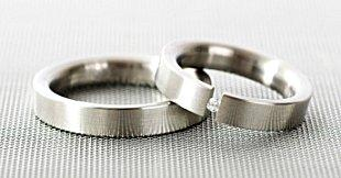 Image of a stainless steel wedding ring set