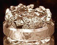 Vintage white gold wedding rings