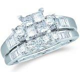1 1/2ctw Princess Cut Quad Diamond Bridal Set