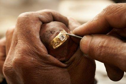 jeweler making custom ring