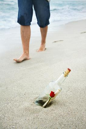 Romantic proposal in a bottle