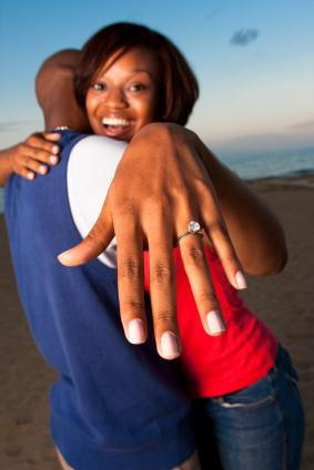 Happy couple who just got engaged