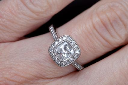 products white shaped in rings cut gold cushion engagement ring