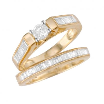 lovely bridal set - Wedding Band And Engagement Ring Set