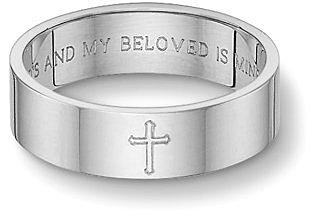8mm Sterling Silver Song of Solomon Cross Wedding Band Ring