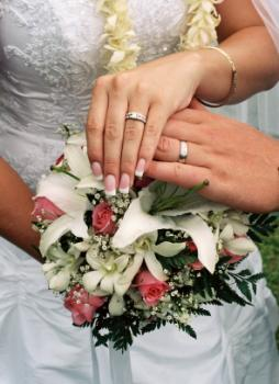 Displaying wedding rings over the bridal bouquet for photo