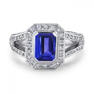 Emerald Cut Tanzanite and Diamond Vintage Ring from Angara http://www.angara.com
