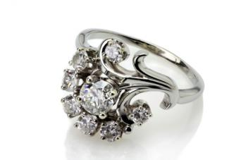 Cluster set diamond engagement ring