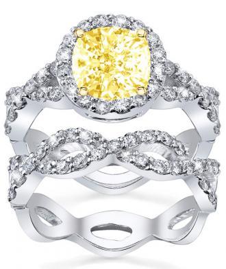 Canary Diamond Art Deco Wedding Set from deBebians