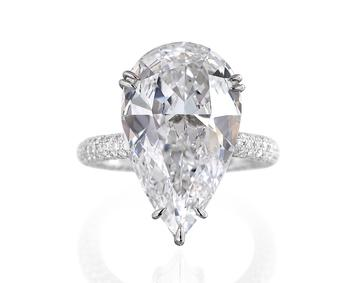 Image of a pear-shaped diamond engagement ring