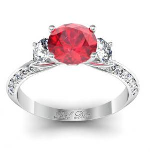 Ruby Knife Edge Three Stone Engagement Ring; image used with permission