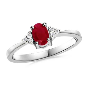 Angara Oval Ruby and Diamond Band Ring Set in Platinum