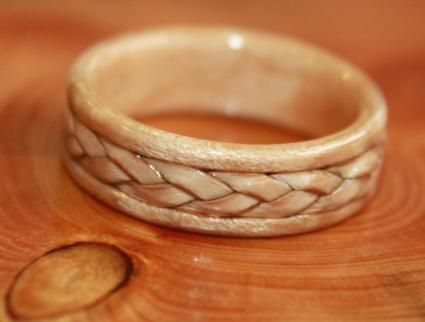 Braided Birch Bark on Birds Eye Maple ring from Touch Wood Rings | Photo Copyright Touch Wood Rings