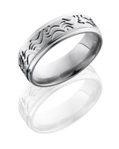 Man's surfer-style waves wedding band