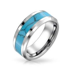 Tungsten ring with turquoise inlay