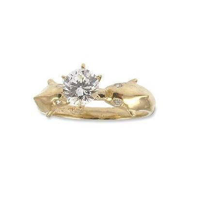 14k Gold Dolphin Design Engagement Ring on Amazon.com