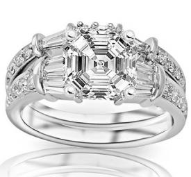 Asscher and baguettes diamond ring