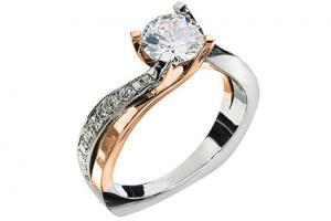 Diamond Halo Two-Tone Ring