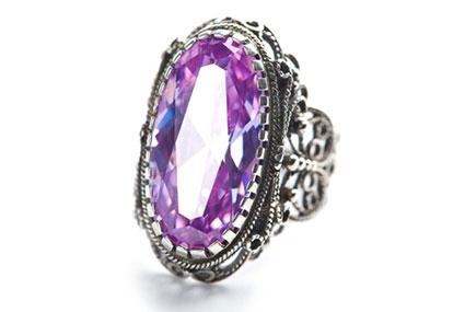 silver ring with amethyst - Victorian Wedding Rings