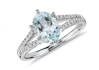 Aquamarine and Diamond Split Shank Ring in 14k White Gold