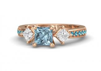 aqua rings diamond halo rose engagement gold aquamarine in pear ring