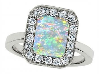 Emerald-Cut Opal and Diamond Ring