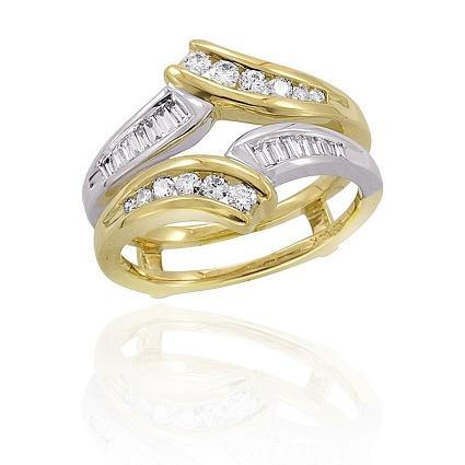 round and baguette diamond ring guard - Wedding Ring Guards