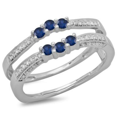 Blue and White Diamond three-stone ring guard