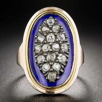Georgian - Circa 1788 - Diamond and Enamel Ring