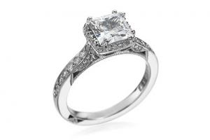 Tacori Platinum & Diamond Princess Halo Setting