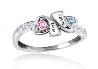Couples birthstone and diamond accent ring