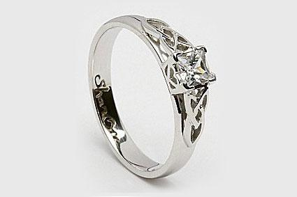 Princess cut Celtic engagement ring from Celtic-WeddingRings.com