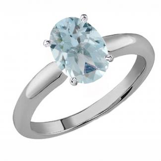 Oval Cut Aquamarine Ladies Solitaire Bridal Engagement Ring